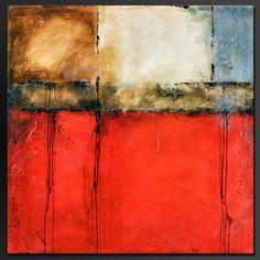 Urban rouge    36 x 36    Grande peinture acrylique abstraite    7/8 en toile, les côtés sont staple libre, peint en noir, prêt à accrocher