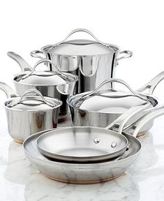 Anolon Nouvelle Copper Stainless Steel 10 Piece Cookware Set - Cookware - Kitchen - Macy's Bridal and Wedding Registry