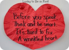 Wrinkled Heart Activity - Lucky to Be in First Beginning Of The School Year, First Day Of School, Back To School, School Stuff, Sunday School, School School, Summer School, Object Lessons, Bible Lessons
