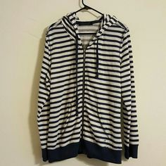 Seven 7 Navy striped zip up sweatshirt hoodie 52% cotton 48% polyester. Very rarely worn. Non-smoking home. Seven7 Tops Sweatshirts & Hoodies
