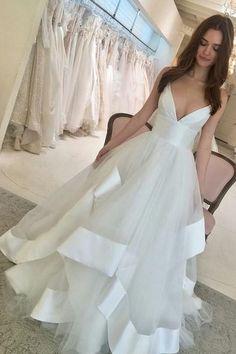 1042f261a7 Satin Ribbon Tulle Wedding Gown with V-neckline – loveangeldress