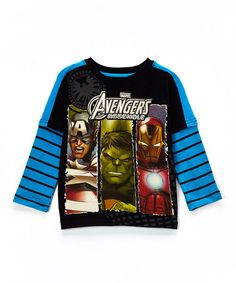 Look what I found on #zulily! Black & Blue 'Avengers Assemble' Layered Tee - Boys by Avengers #zulilyfinds