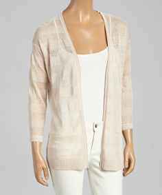 Look at this Avalin Nude Shadow Stripe Linen-Blend Open Cardigan - Women on #zulily today!