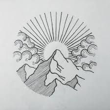 Image result for nz mountain with sunset illustration