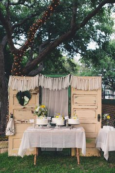 Old doors for cake backdrop