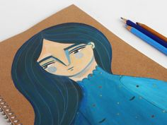 Blue girl journal hand-painted BIG notebook by ireneagh on Etsy