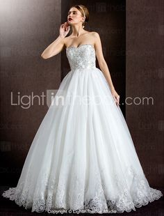 A-line Strapless Court Train Lace And Organza And Satin Wedding Dress
