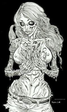 Zombie Pin Up - Zombie Artist Rob Sacchetto's Zombie Portraits Arte Zombie, Zombie Art, Zombie Drawings, Sexy Drawings, Arte Horror, Horror Art, Zombie Girl Tattoos, Zombie Pin Up, Beautiful Dark Art