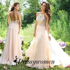 Sexy Prom Dress/Evening Dress - Peach Backless with Beading