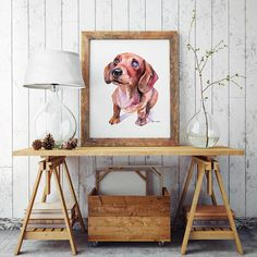 Dog original painting Watercolor drawing commission Pet