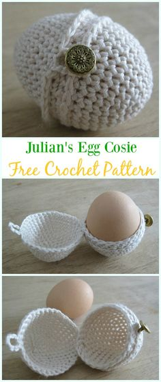 Crochet Julian's Egg Cosie Free Pattern - #Crochet, #Easter; Egg Cozy&Holder Free Patterns