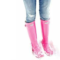"Tall Glossy Hunter Boots Tall Glossy Hunter Boots in pink.  Brighten up your winter wardrobe!  Preppy chic!  Worn once, in like new condition.  Minimal signs of wear.  Original box not included.    Measurements: Boot height: 17.25"" Leg opening: 17"" (approx.) Hunter Boots Shoes Winter & Rain Boots"