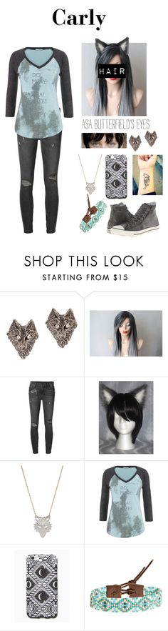 """""""Carly"""" by avellines ❤ liked on Polyvore featuring Tom Binns, HUGO, Ksubi, Ginette NY, maurices, Free People, Chan Luu and Converse"""