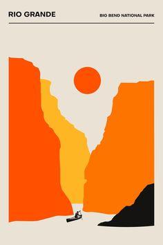 The Rio Grande, Big Bend National Park - Poster - Minimalist.- The Rio Grande, Big Bend National Park – Poster – Minimalist Print Rio Grande, Graphic Design Posters, Graphic Design Inspiration, Graphic Art, Minimalist Poster Design, Poster Designs, Graphic Prints, National Park Posters, National Parks