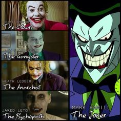 The clown, the Gangster, the anarchist, the psychopath and the joker. All the same character different vision of it