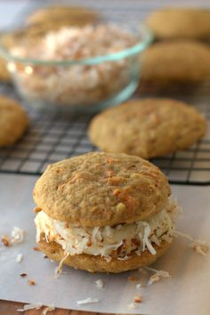 Carrot Cake Whoopie Pies. Hope they taste like the ones from Trader Joes! I'll make mine without coconut.