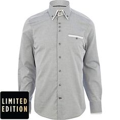 Grey contrast double collar shirt - long sleeve shirts - shirts - men