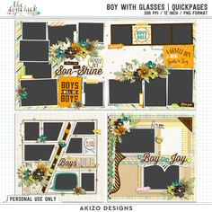 Boy With Glasses | Quickpages by Akizo Designs - for Digital Scrapbooking Layout Page