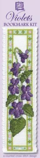 Violets Bookmark Cross Stitch Kit - Textile Heritage