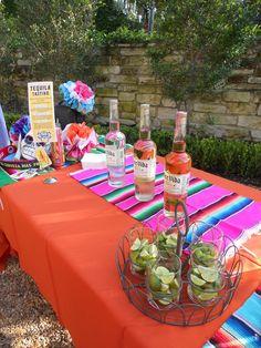Tequila Tasting bar at Mexican Fiesta Bridal Shower Mexican Fiesta Party, Fiesta Theme Party, Party Themes, Party Ideas, Fiesta Decorations, Party Decoration, Streetfood Festival, Tequila Tasting, Tequila Bar