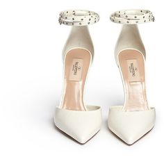 VALENTINO 'Love Latch' grommet wraparound ankle strap leather pumps ($710) ❤ liked on Polyvore featuring shoes, pumps, leather shoes, pointed toe pumps, white bridal pumps, bridal shoes and stiletto pumps