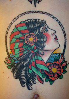 Wow!! Another beautiful, beautiful tattoo girl. Work by Jerry Ware. Atlas Tattoo!