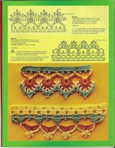 Crocheted edging free patterns-page in Arabic