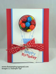 Sweet Treat Cups idea from Dawn Olchefske 3d Cards, Cool Cards, Stampin Up Cards, Kids Birthday Cards, Handmade Birthday Cards, Sweet Party, Happy B Day, Shaker Cards, Candy Gifts