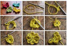 Crochet schemes to make butterfly Crochet Gratis, Free Crochet, Knitting Patterns, Butterfly Pattern, Lana, Crochet Earrings, How To Make, Flowers, Knit Patterns