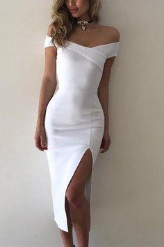 White Off The Shoulder High Waist Bodycon Midi Dress