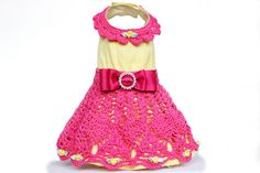 Yellow and Pink Dog Dress (size small) on Etsy, $60.00