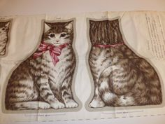 "Vintage V.I.P Cranston Print Works ""Old Fashion Cat And Kittens"" Fabric Panel"