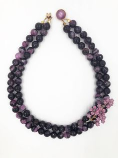 Excited to share the latest addition to my #etsy shop: One of a kind Statement Necklace Vintage Purple Flower Brooch Strand Purple/Black Agate  Beads Gift Wedding Bridal Jewelry http://etsy.me/2ijqIXw