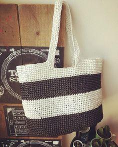 BEACH BAG ✨ ▼ #handmade #crochet #knitting #fancywork  #beach #bag #beachbag #ハンドメイド #手作り #スズランテープ #バッグ #ビーチバッグ #手編み #かぎ編み #鍵編み #sewcool