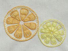 レモンとオレンジの簡単刺繍