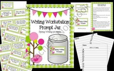 Bundle Writing Workstation Jar of Spring, Summer, Fall, Winter Writing Prompts from aimeev on TeachersNotebook.com (55 pages)