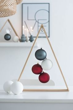 Love this! wooden frame tree with matte ornaments inside