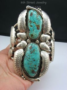 """Amazing Navajo Sam Pablo SP Sterling Silver 925 Turquoise Cuff Bracelet 4.5""""Wide"""