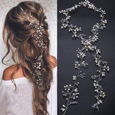 Wedding Hairstyles For Long Hair, Wedding Hair And Makeup, Hairstyle Wedding, Wedding Hair Jewelry, Bridal Hairstyles, Top Hairstyles, Diy Hair For Wedding, Prom Hairstyles With Braids, Braids For Wedding Hair