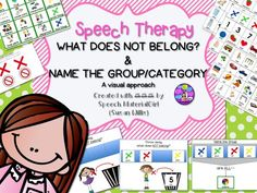 Speech Therapy. WHAT DOES NOT BELONG? and NAME THE GROUP/CATEGORY. A visual & FUN activity. #autism #speechtherapy #categories