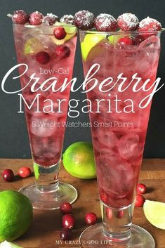 This great low cal cranberry margarita recipe is perfect for the 21 Day Fix and Weight Watchers! It's low cal and low points!