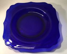 Paden City Crow's Foot Cobalt Blue Depression Glass Dessert Square Plate…