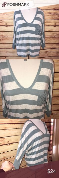 H by Bordeaux Slate Blue & Gray Relaxed Pocket Tee Awesome casual tee! Great slate blue and soft gray color combo with v neck and pocket detail. Ultra soft and loose fitting, perfect with leggings or jeans for a relaxed look. Excellent quality and condition. Check out my other listings to bundle and save! H by Bordeaux Tops Tees - Long Sleeve