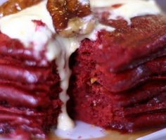 red velvet pancakes with cream cheese butter.