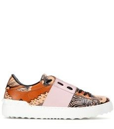 Valentino - Open printed leather sneakers - mytheresa.com
