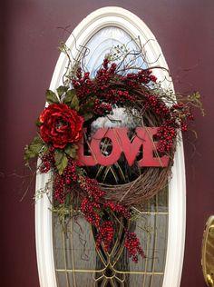 "Valentines Day Wreath Door Decor..""Love"".via Etsy."