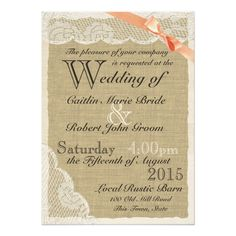 Antique Lace Coral Bow Country Wedding 5x7 Paper Invitation Card