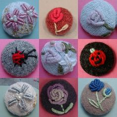 Hand made buttons have been made with felted wool & crewel embroidered. I really want to make some but have no idea what I will use them on.