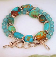 Blue Turquoise Blue Chalcedony Sterling Silver by BlooMoonJewelry, $68.00