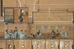 Secció longitudinal del vapor Reina Victòria Eugènia. Salons. Primera meitat s. XX. Autor desconegut. 10351 MMB
